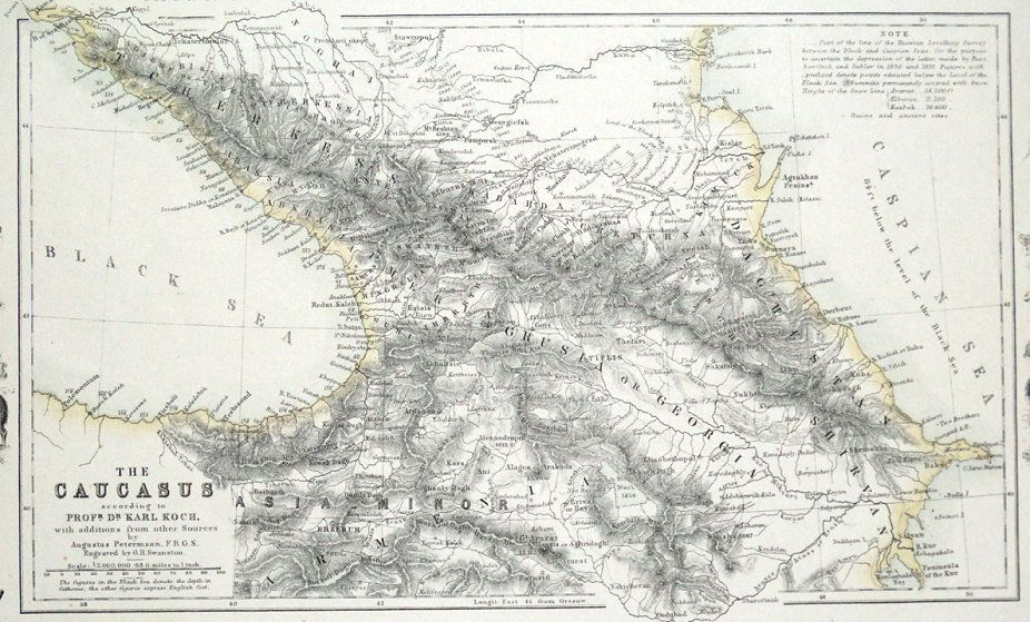 CAUCASUS CRIMEA UKRAINE RUSSIA GEORGIA ARMENIA Fullarton Antique - Georgia map ukraine